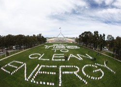 Overview of the lawn in front of Parliament show placards expressing support of a carbon tax in Canberra, Tuesday, Oct. 11, 2011. One thousand placards have been planted on the lawn at Parliament House to encourage politicians to vote 'yes' to a price on carbon pollution. (AAP Image/Lukas Coch)  NO ARCHIVING