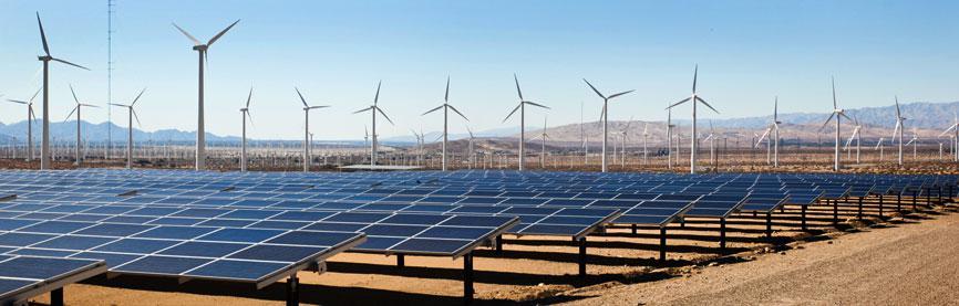 renewable energy green energy wind 2 solar panels