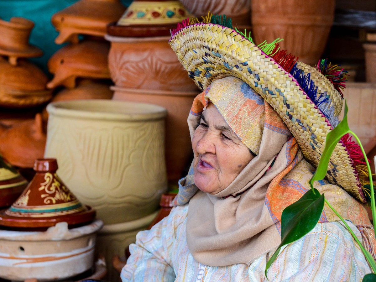 woman-selling-pottery-in-the-medina-in-tangier-morocco