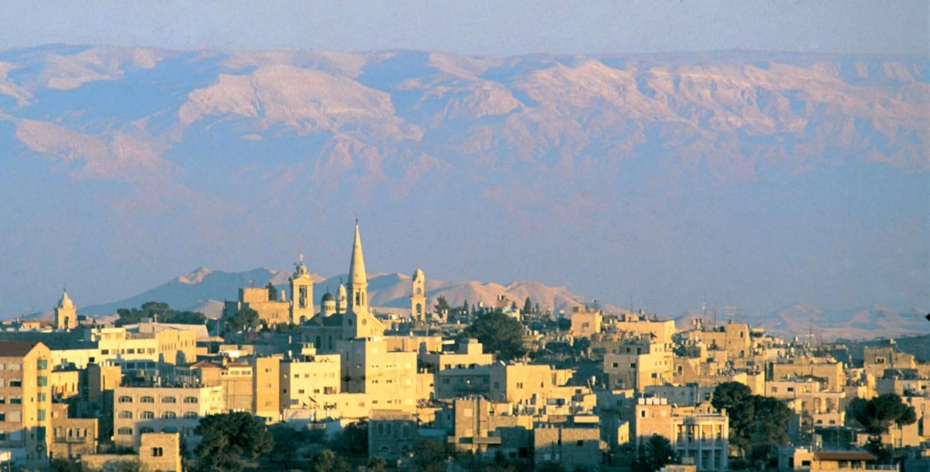 Bethlehem buildings on the mountains background