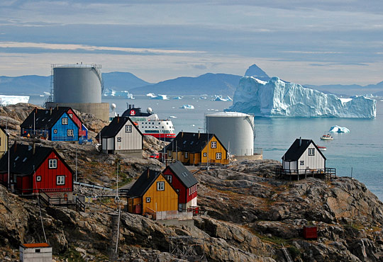 Northice, Greenland, colorful houses and icebergs