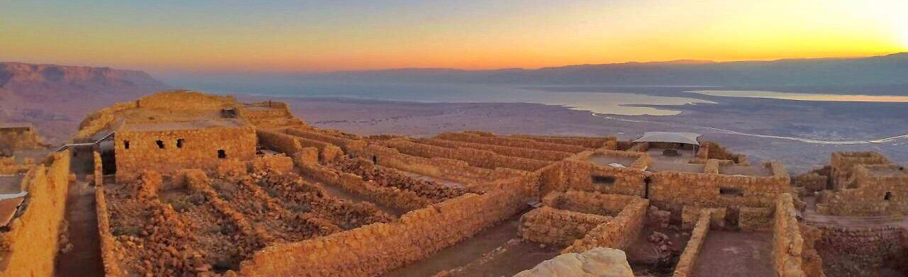 The rock fortress Masada, masada at sunrise amazing view