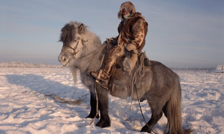 Verkhoyansk, Russia, man on horse, wintertime
