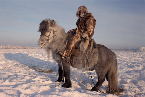 Verkhoyansk, Russia, man on horse, wintertime, The Coldest Places in the World