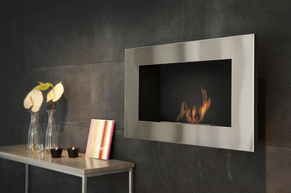 Bio wall-mounted fireplace in stainless steel-ethanol stove
