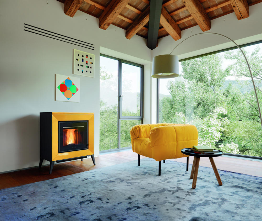 Colored fireplace-bioethanol yellow furniture