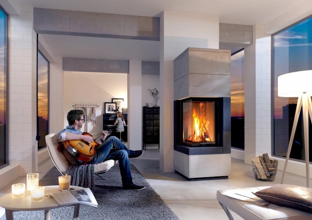 fireplace-kit-in-luxury-house-bioethanol-fireplace man with a guitar The Bioethanol Fireplace