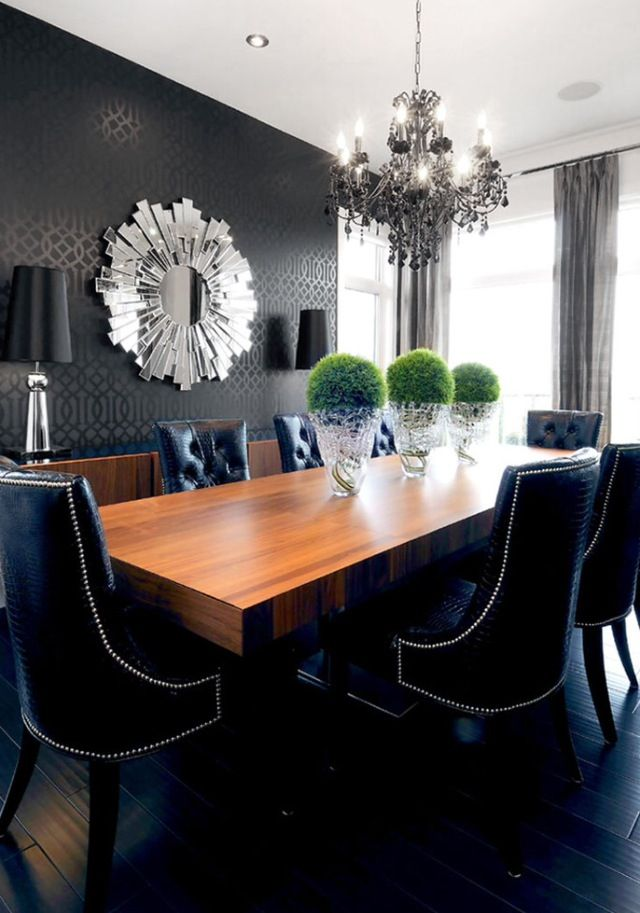 2-accent-wall-with-abstract-wall-mirror-in-the-luxury-look-murals-in-the-dining-room