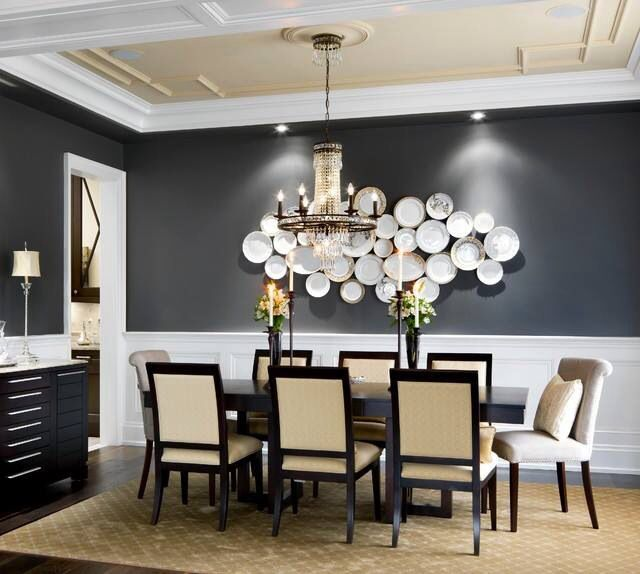 Accent Wall In Black With Decorative Plate Murals