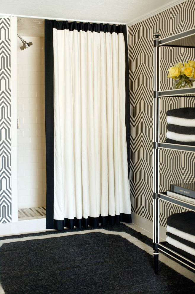 black-and-white-retro-style-shower-curtain-design