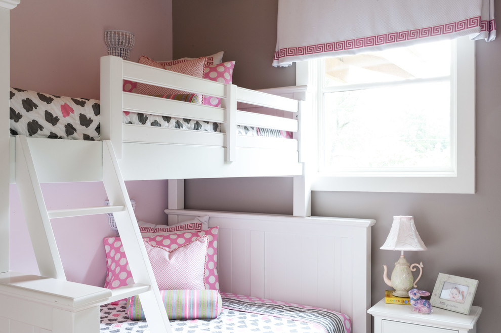 bunk-bed-in-white-and-pink-nursery-ideas
