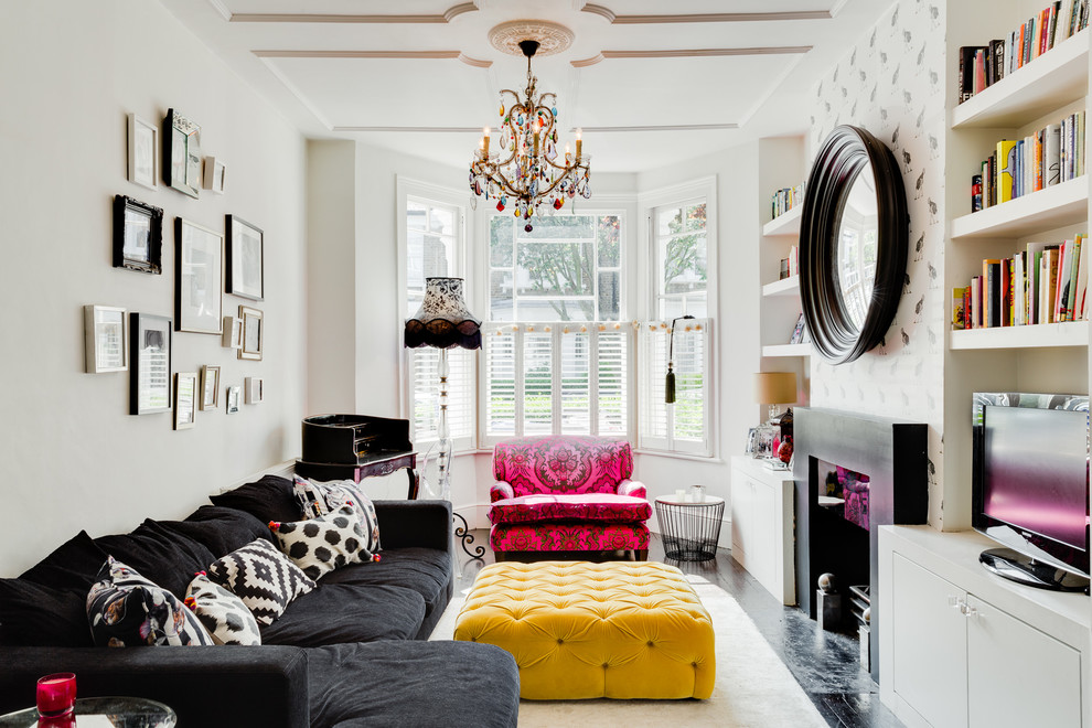 colorful-eclectic-room-contemporary-chandeliers-for-the-living-room
