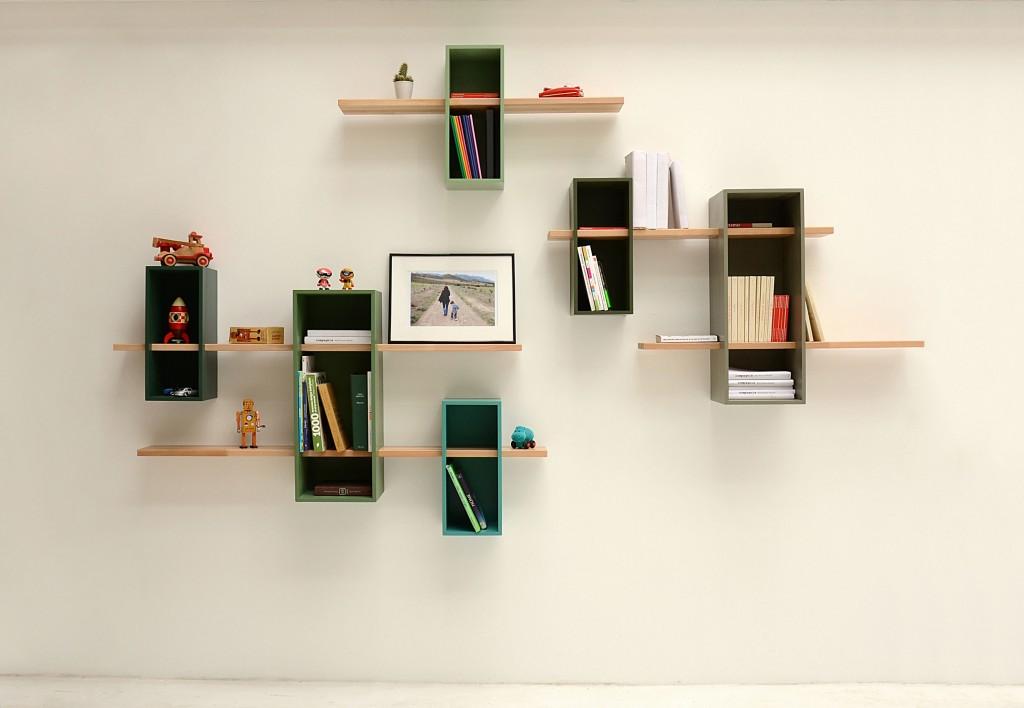creative-books-storage-idea-wall-shelf-wood-green-interesting-bookcase-design