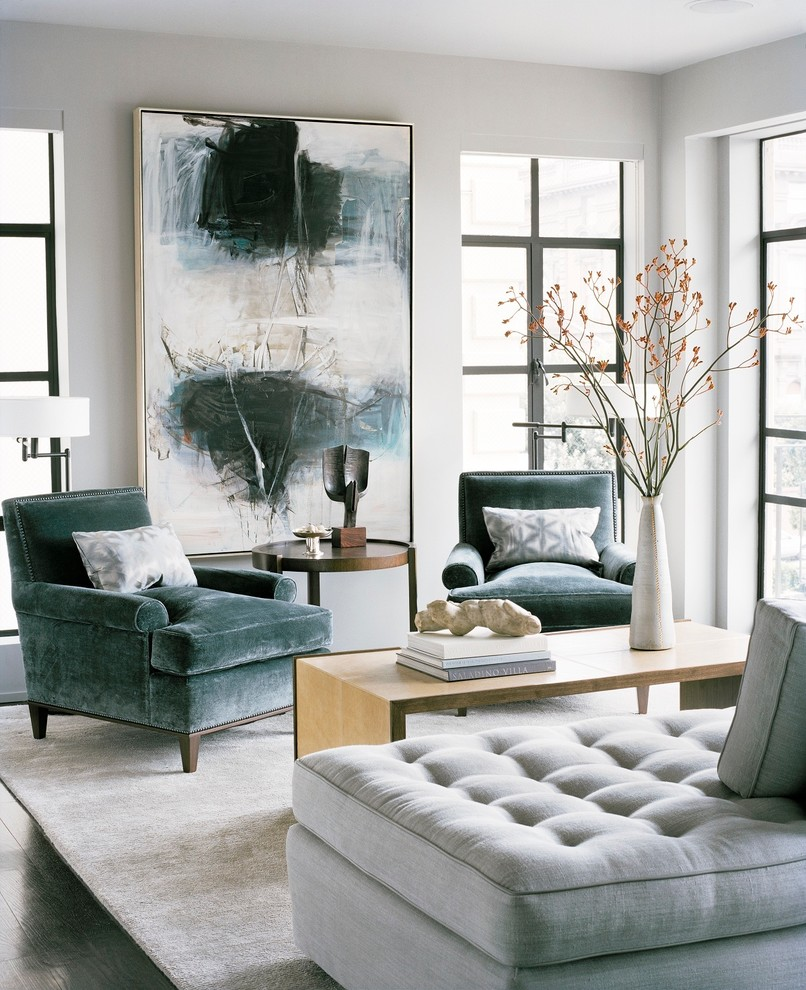 design-velvet-armchair-wooden-table-contemporary-painting-living-room-setup-ideas
