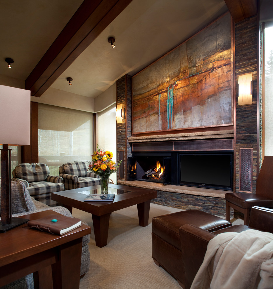 fire-and-abstract-art-trendy-living-room-in-brown