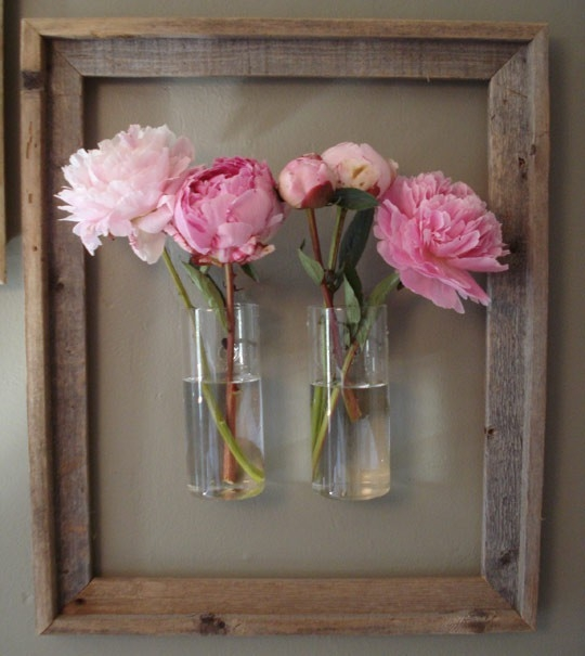 glass-vases-in-the-wood-frame-modern-vases-diy-ideas