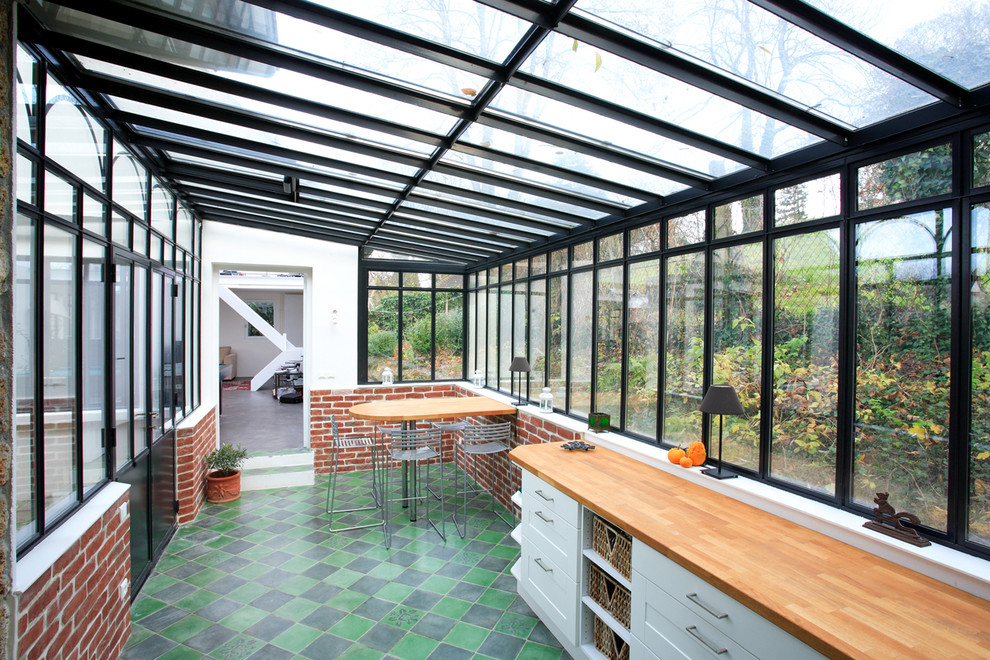 glazed-veranda-with-eating-bar-design-porch