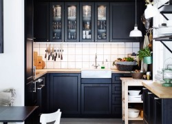 ikea-kitchen-system-in-black-kitchen-shelves-with-glass-doors