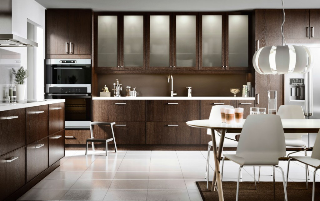kitchen-cabinet-hinge-frost-glass-in-dark-brown-kitchen-shelves-with-glass-doors
