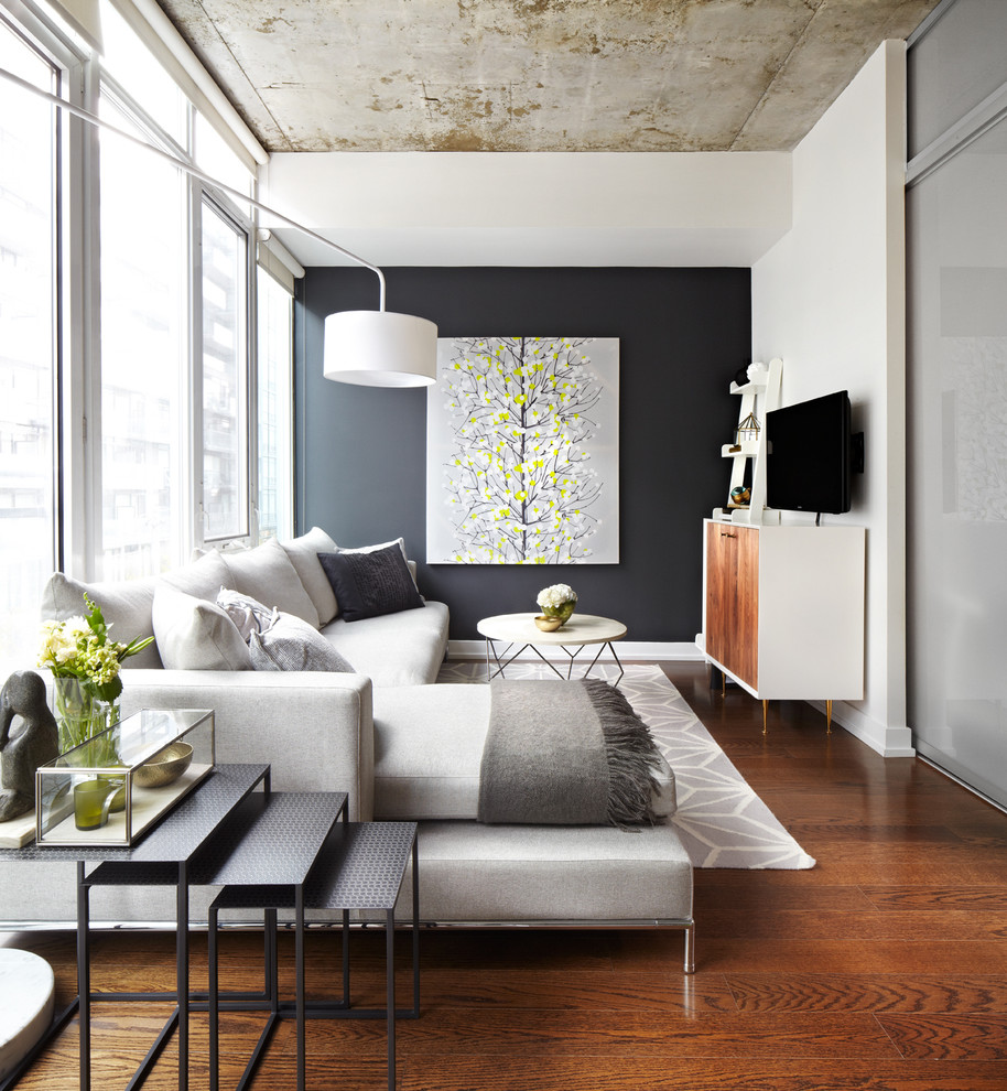 modern-design-in-light-grey-laminate-flooring-concrete-wall-living-room-setup-ideas