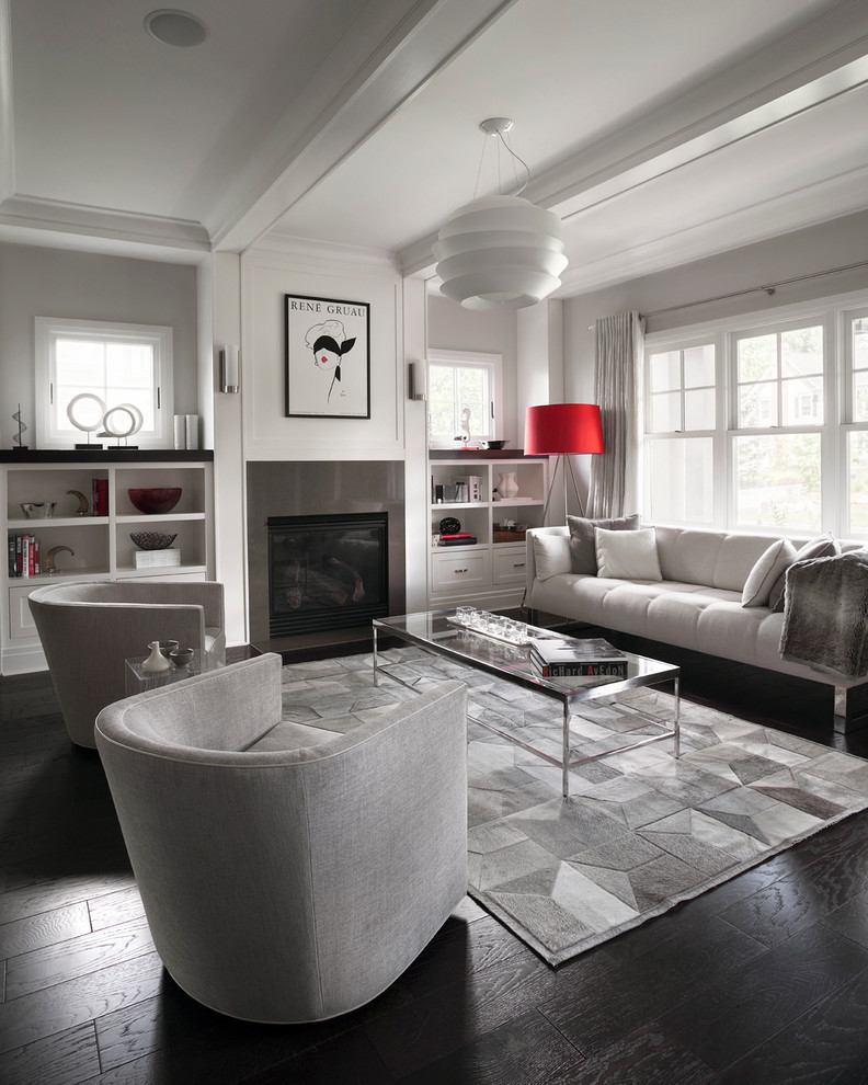 modern-living-room-in-grey-and-red-with-built-in-fireplace-living-room-setup-ideas