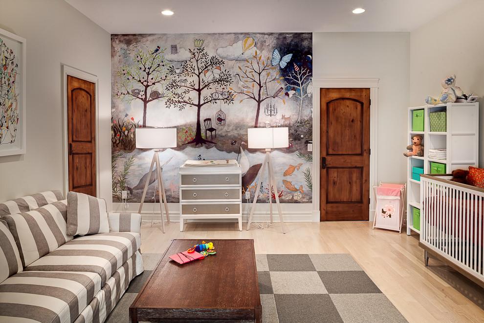 mural-grau-weis-diaper-table-chessboard-carpet-nursery-ideas