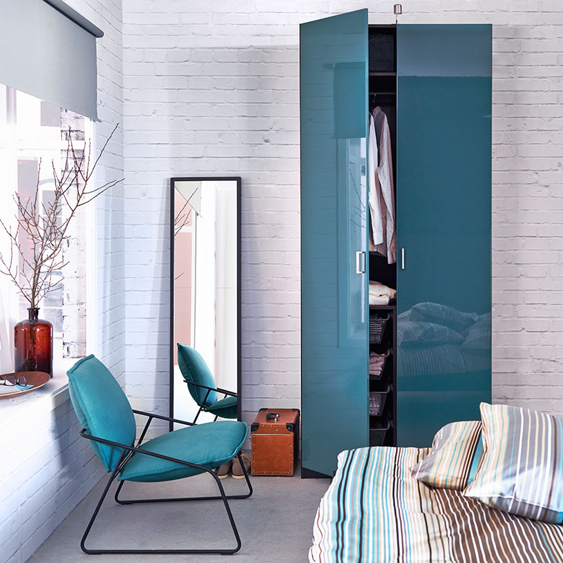 small-wardrobe-with-two-doors-in-glossy-high-turquoise-for-the-bedroom-closets