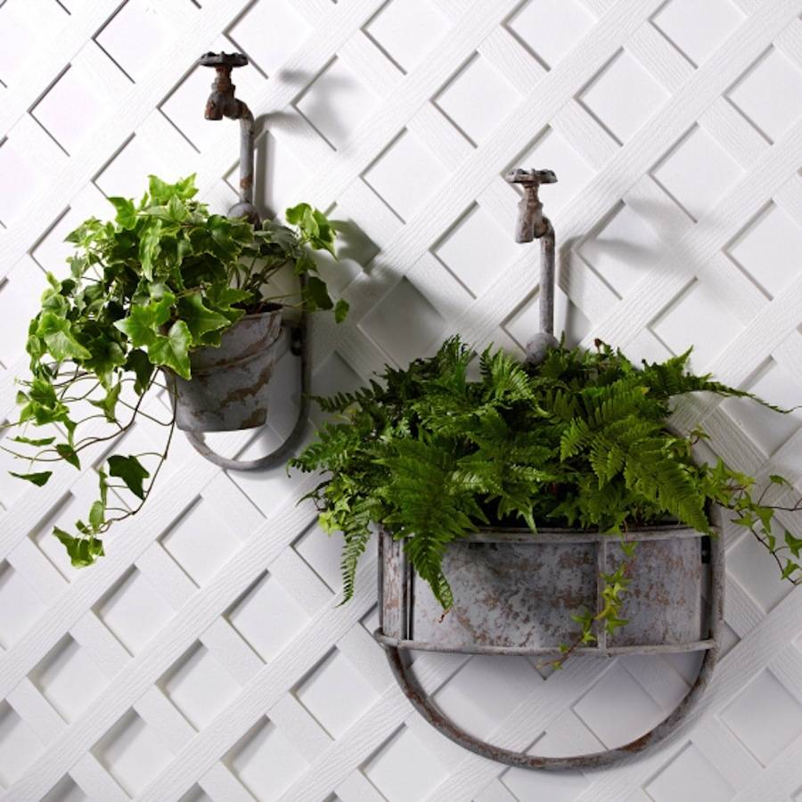 vintage-wall-mount-faucet-flower-planters