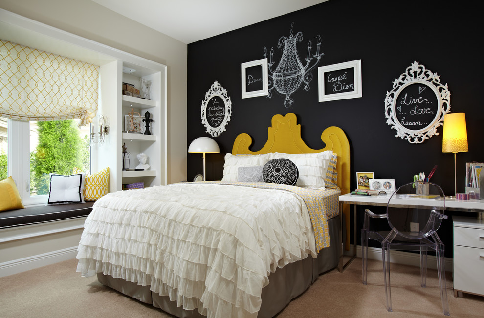 youth-bedroom-designer-eclectic-yellow-black-white-panel-wall