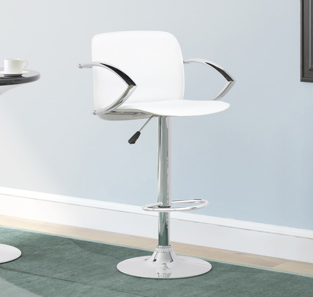 Height-adjustable armrests in chrome bar stools for your kitchen