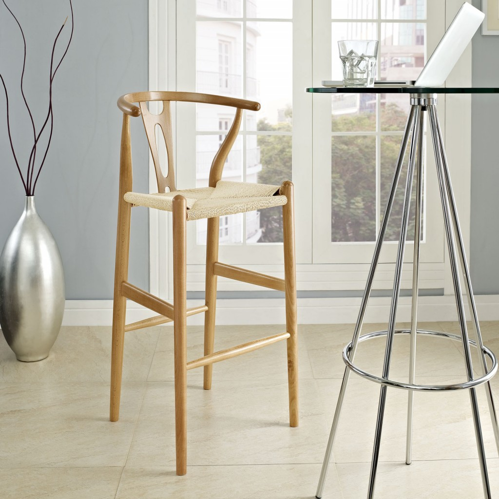 Modern eclectic designer bar Chair made of wood and burlap bar stools for your kitchen
