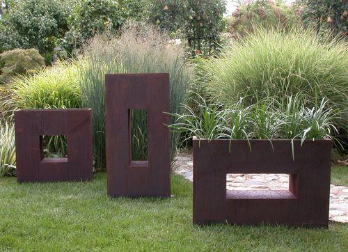 Flowerpot with fancy design landscape in the minimalist style