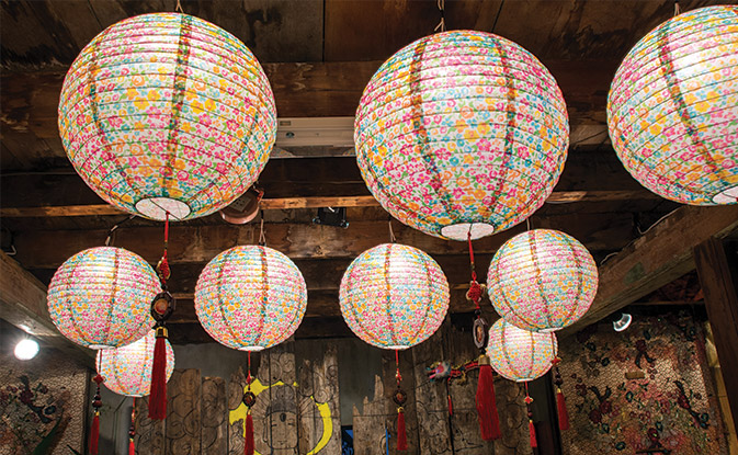 Lanterns for festive atmosphere decorated with paper lanterns