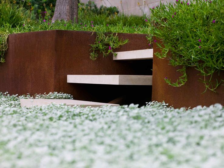 Minimalist design in the garden landscape in the minimalist style