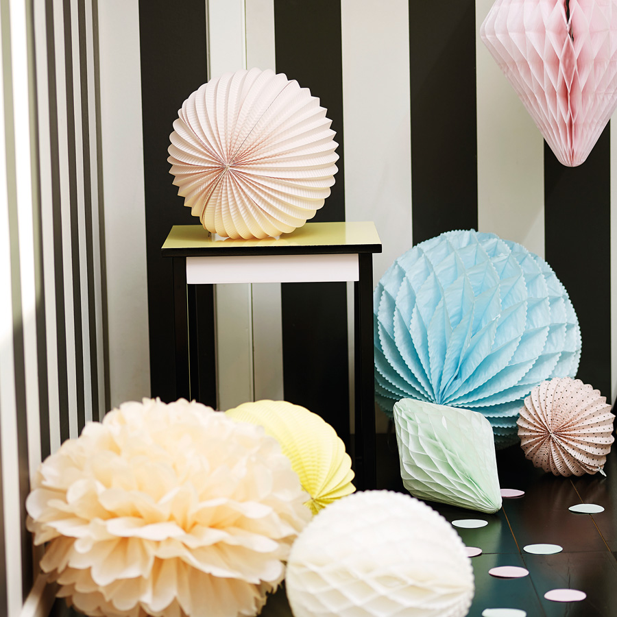 Modern decoration for walls in stripes decorating with paper lanterns