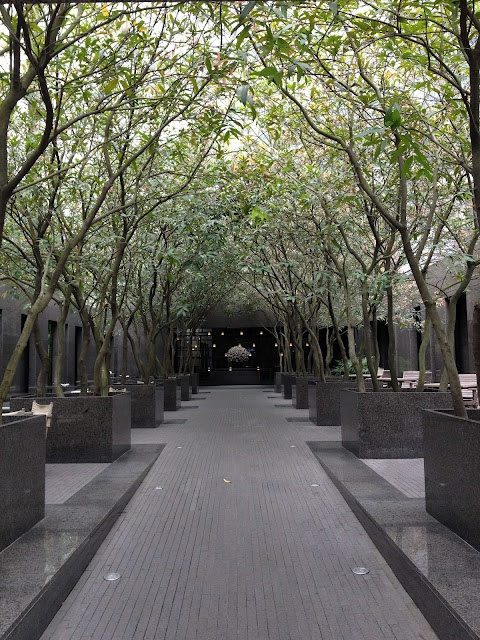 Modern garden path and planter from marble landscape in the minimalist style
