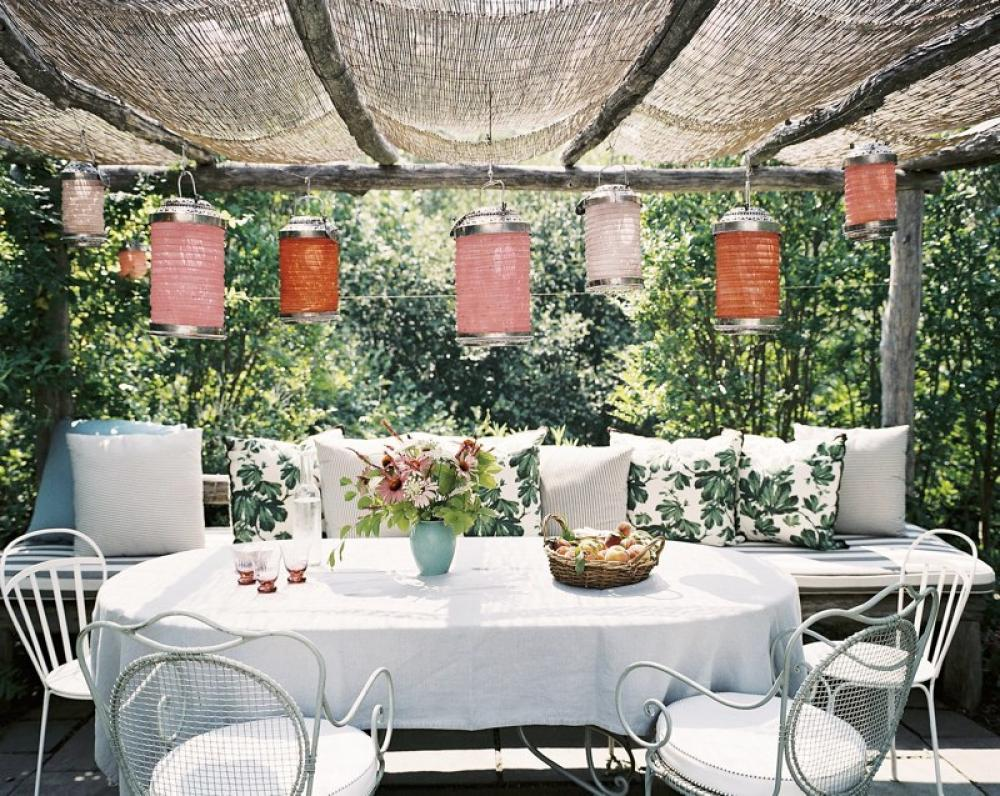 Pergola in the garden decorating with paper lanterns