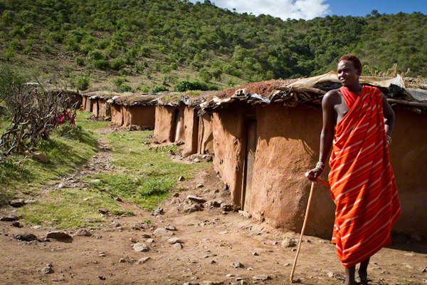 Traditional Maasai Huts build by Maasai women Kenya Africa