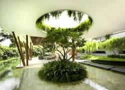 Wall greening in the dream garden landscape in the minimalist style