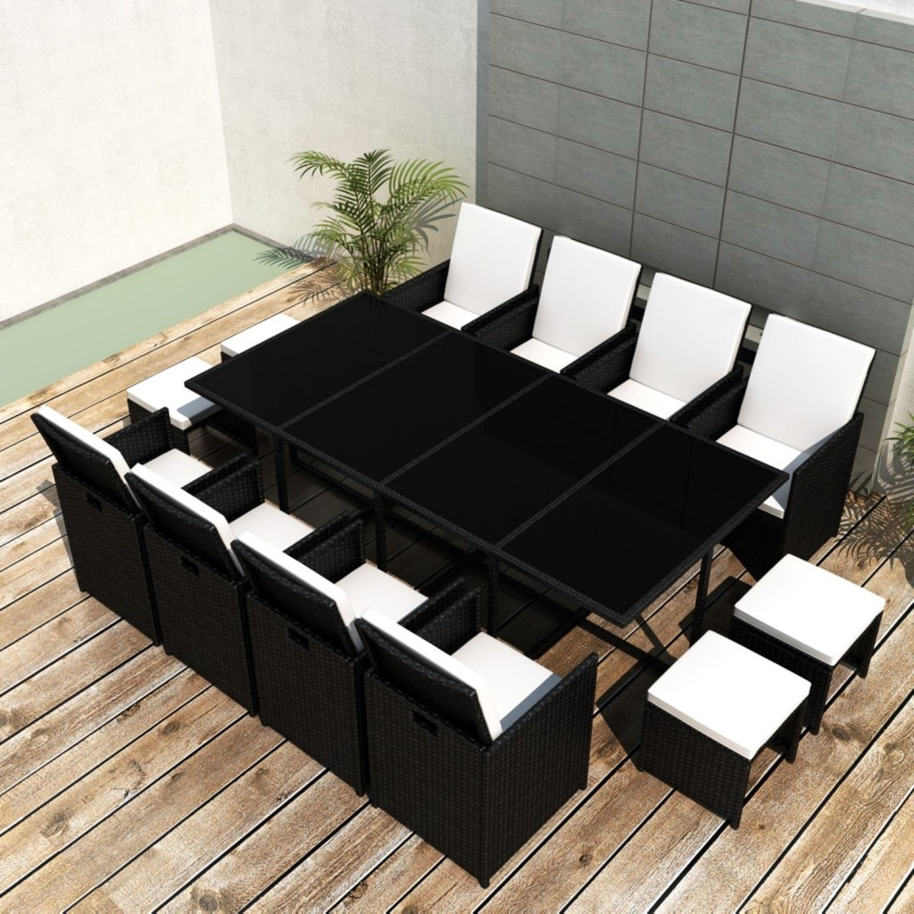 Black and white garden furniture sets