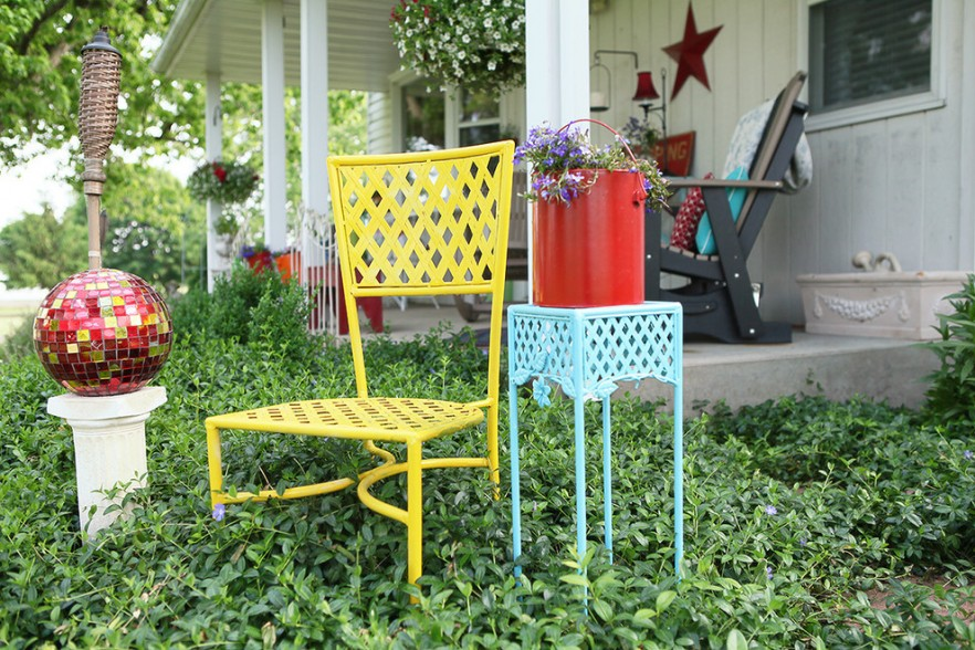 Colorful decoration metal garden furniture Patio