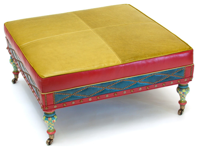 Colorful pouf eclectic pieces of furniture