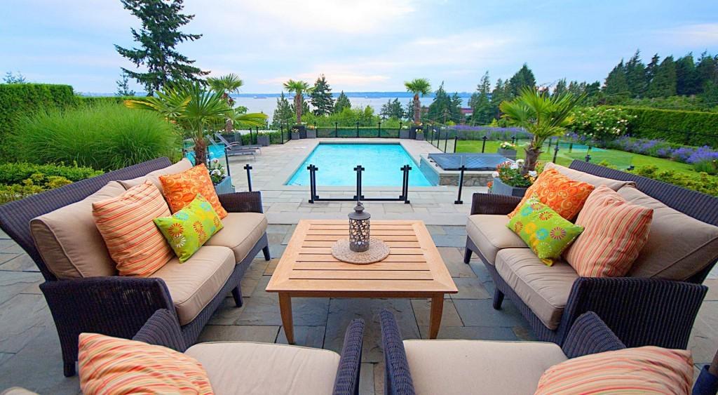 Colourful sofas pool urban design garden furniture