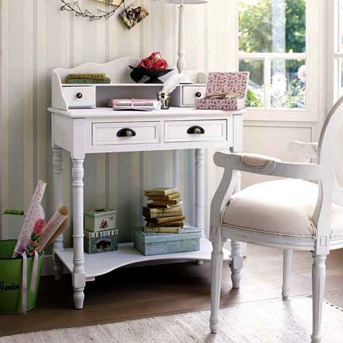 Console table in white interior design in vintage and Shabby Chic