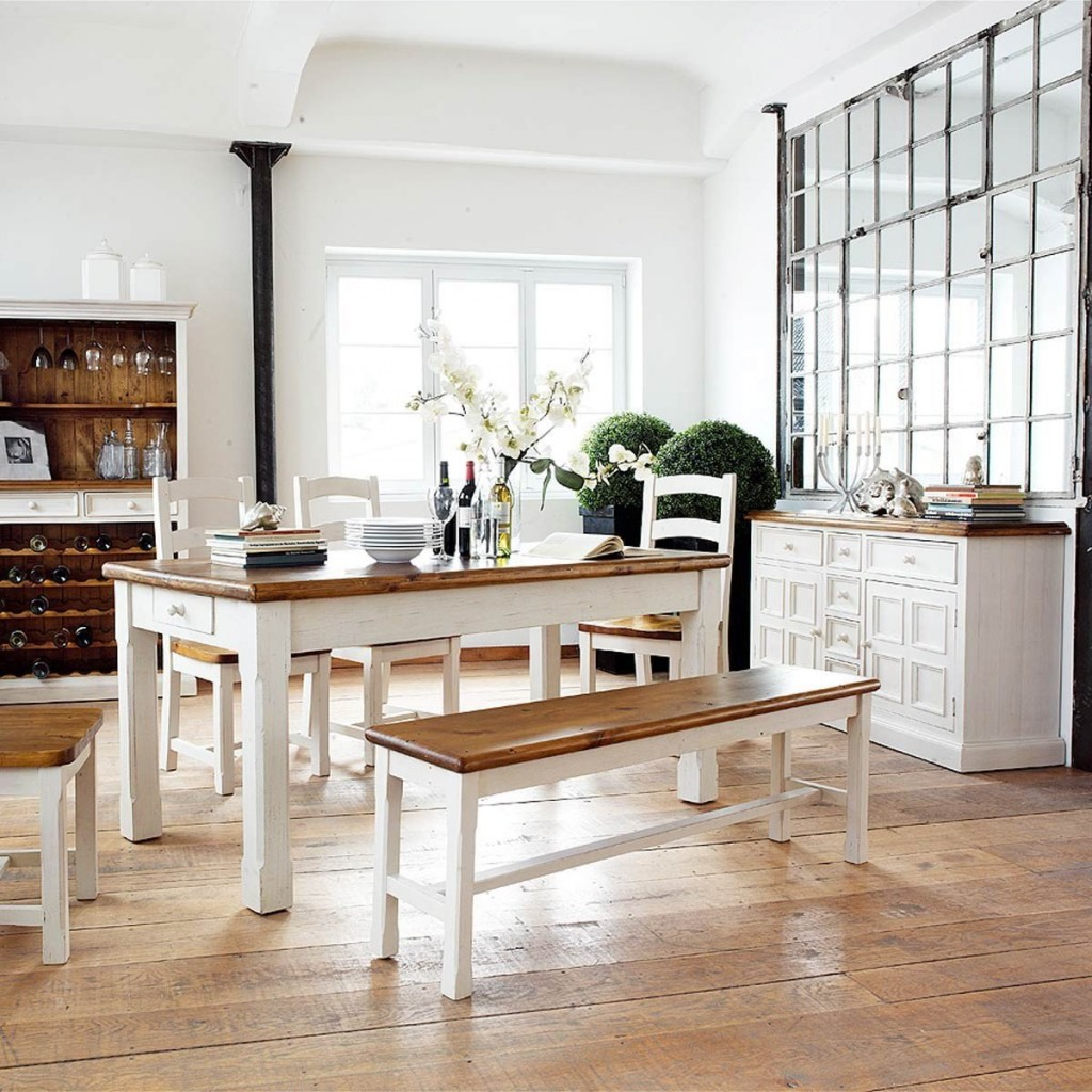 Country style dining table solid wood furniture interior design in vintage and Shabby Chic