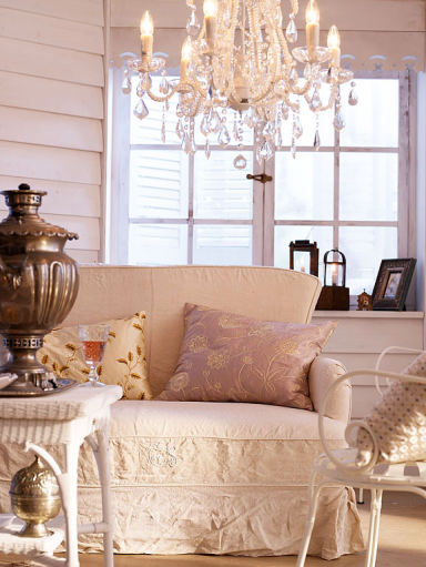 Elegant chandelier decorative pillow interior design in vintage and Shabby Chic