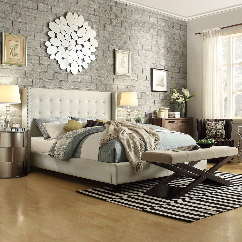 Elegant platform bed with quilted headboard bedroom luxury beds