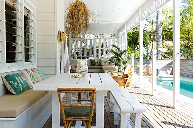 Entertainment wood swimming pool veranda patio design