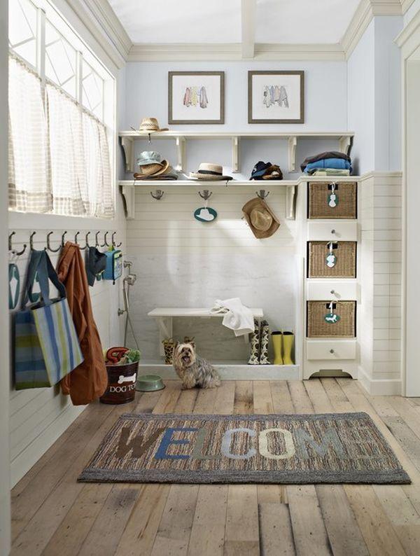 Entrance hallway organization traditionally floor cloakroom coat hook wall shelf-storage bench