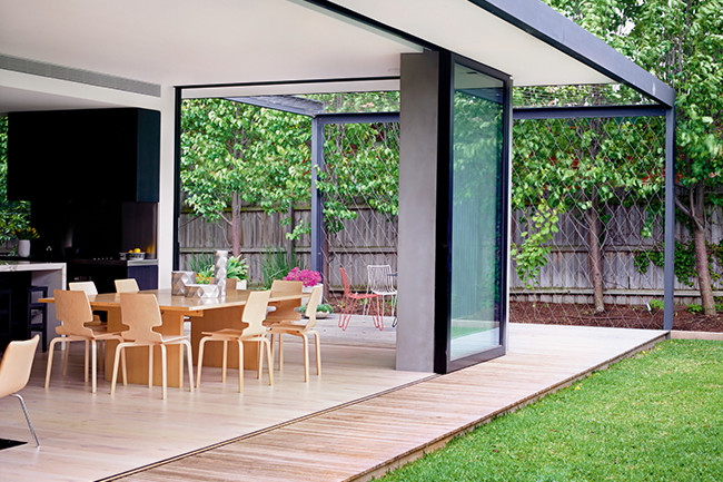 Glass wall sliding glass door veranda patio design